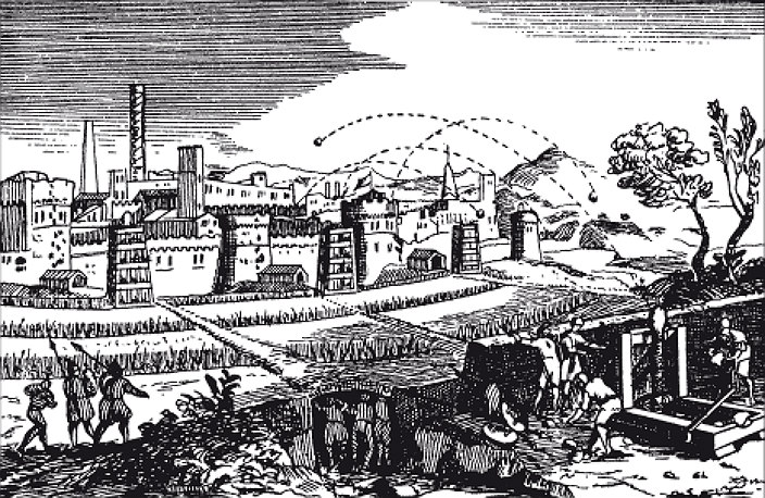 Укрепленный город под обстрелом из катапульт