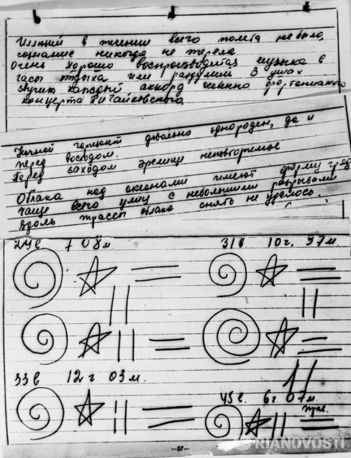 Записи и рисунки, сделанные космонавтом В. Терешковой во время полета в космос