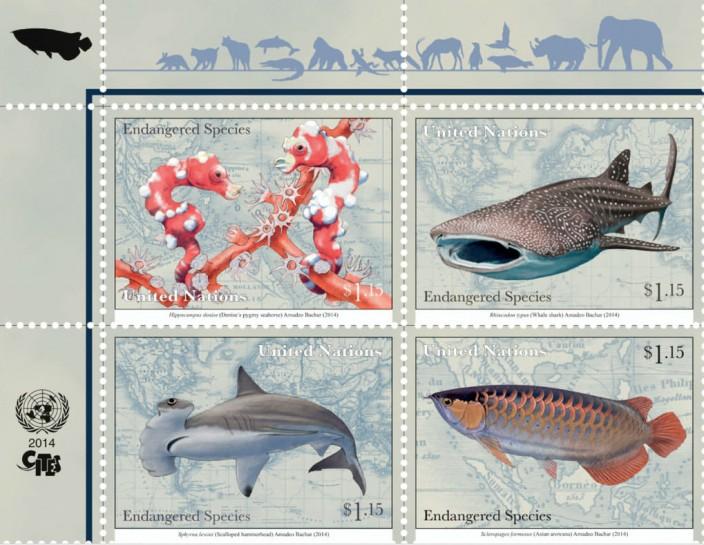 Исчезающие виды на почтовых марках ООН