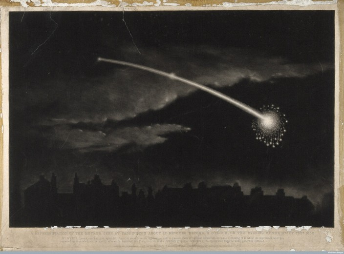 V0024754 Astronomy: a comet in the night sky. Wood engraving, n.d. [c