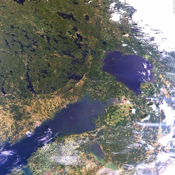 Ладожское озеро из космоса
